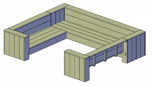 bouwtekening steigerhouten loungebank maken