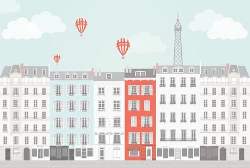 Posterbehang stad Parijs van Perron 11