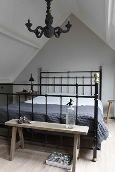 landelijke slaapkamer grijs