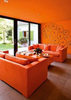 oranje woonkamer