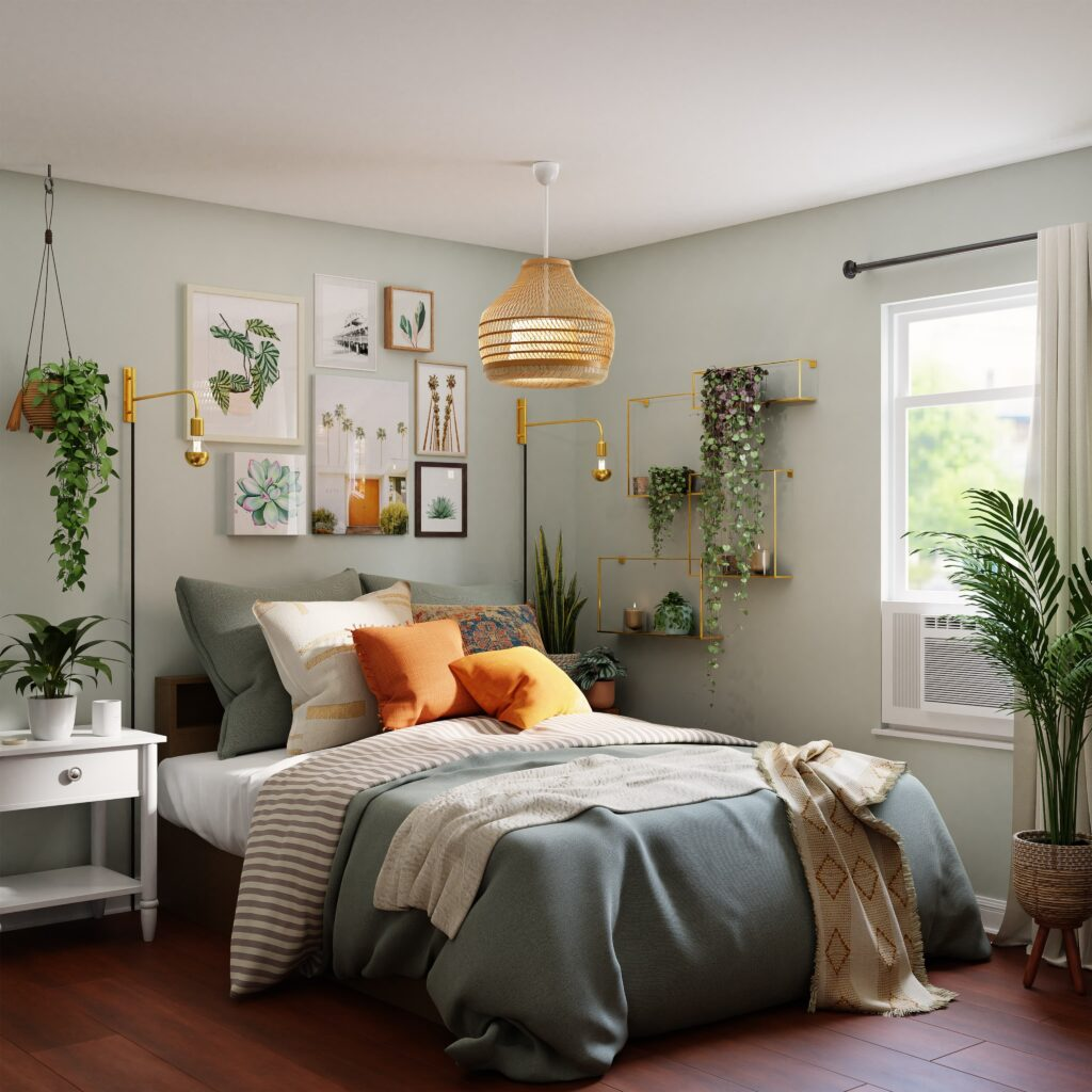 lamp boven bed