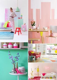 pastel en neon slaapkamer