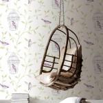 Vogeltjesbehang in het interieur