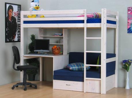 Halfhoogslaper Steigerhout Zitje : Hoogslaper met bureau en zitje flexworld kinderbedden en meubelen