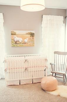 minimalist-light-brown-nursery-room-design-ideas-cute-white-pink-baby-crib-soft-pink-leather-ottoman-cozy-vintage-style-wooden-rocking-chair-lovely-white-ruffled-window-curtain-panels-
