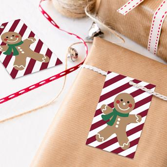 happy gingerbread man kerst kadolabel Oktoberdots