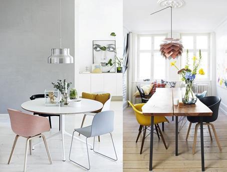 Interieur inspiratie designinspiratie haal de lente in for Verschillende kleuren eetkamerstoelen