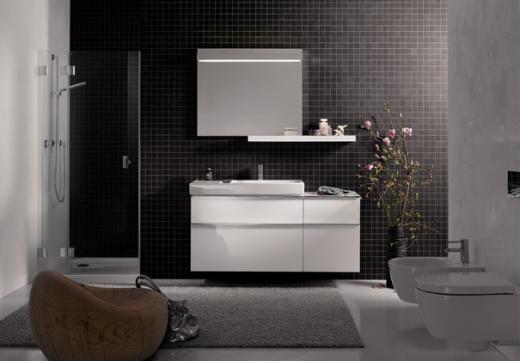 zwart witte badkamer