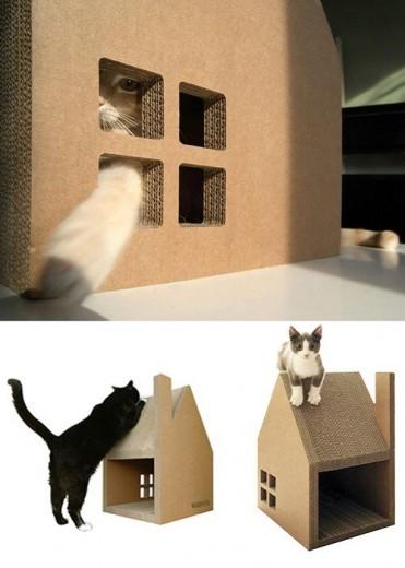 kartonnen kattenhuis