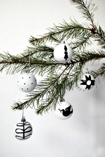zwart wit kerstbal
