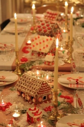 kersttafel huisjes