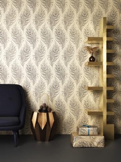 Sparkle Behang Badkamer ~ Interieur Inspiratie gouden pauwenveren behang
