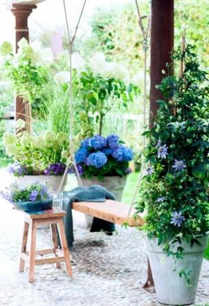 Blauwe tuin