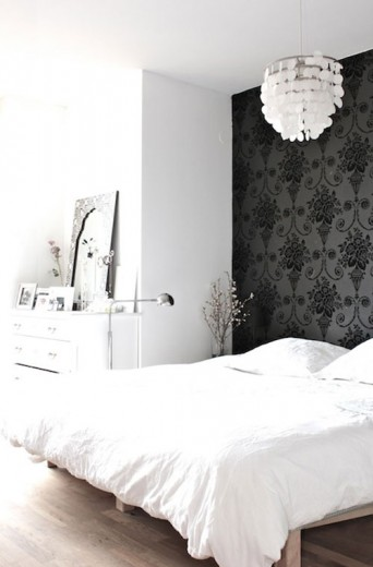 slaapkamer zwarte behang barok