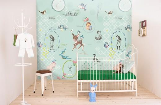 Interieur inspiratie babykamer behang onszelf for Behang kinderkamer