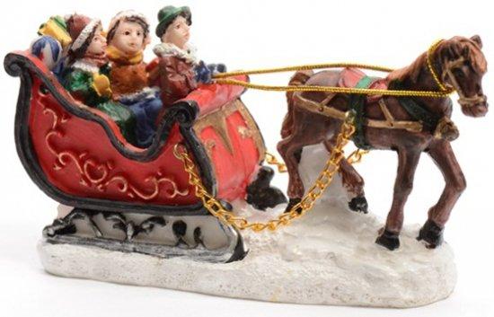 Kerstdorp Figuren Slee met Paard