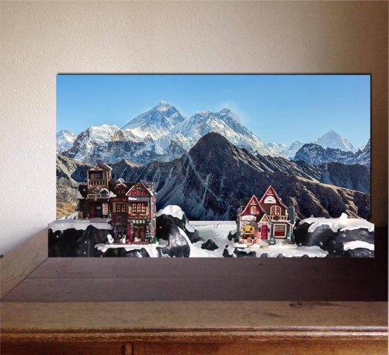 Kerstdorp achtergrond winterlandschap bergen
